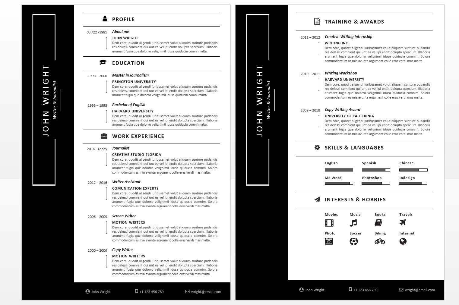 Microsoft Office Resumes John Wright Resume Template With