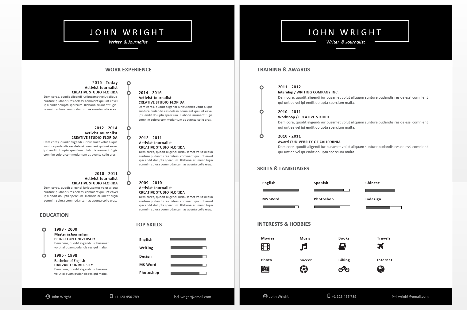 Microsoft Office Resumes  John Wright Resume Template Timeline
