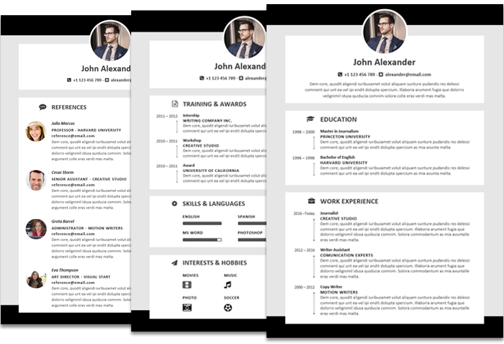 Alexander resume template featured fullwidth