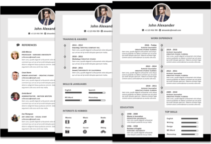 Alexander resume template timeline featured black