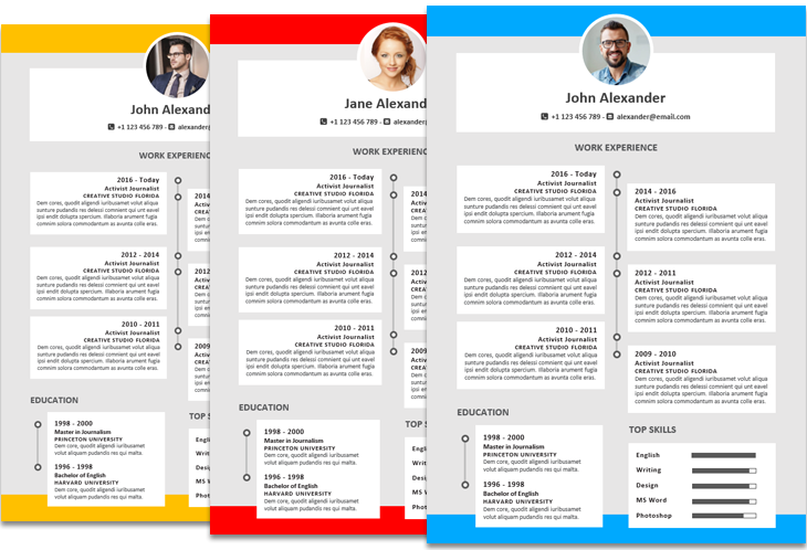 Alexander Resume Template Timeline Featured Colored