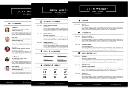 Wright Resume Template Fullwidth Featured View U0026 Download