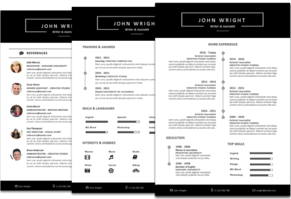 Wright resume template timeline featured